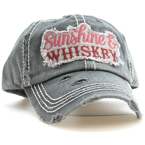 Cap 136h 30 KBEthos Sunshine and Whiskey distressed hat dark gray