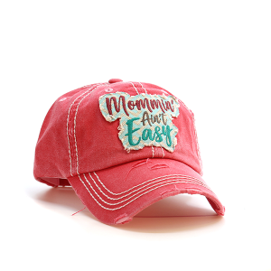 Cap 093n 30 KBEthos Mommin aint easy distressed hat coral