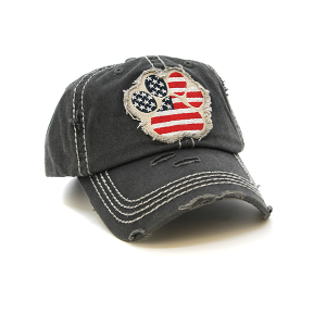 Cap 075k 30 KBEthos Dog Paw USA American Flag dark gray