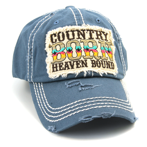 Cap 165a 30 KBEthos Country Born Heaven Bound hat navy