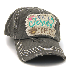 Cap 225a 30 KBEthos distressed hat give me jesus and coffee dark gray