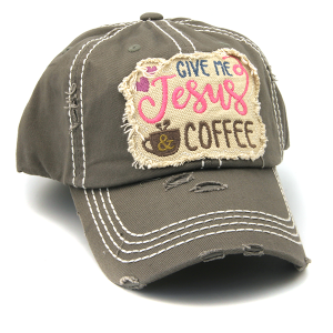 Cap 227d 30 KBEthos distressed hat give me jesus and coffee gray