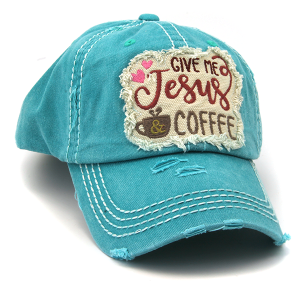 Cap 226d 30 KBEthos distressed hat give me jesus and coffee turquoise