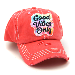 Cap 275a 30 KBEthos distressed hat good vibes only coral