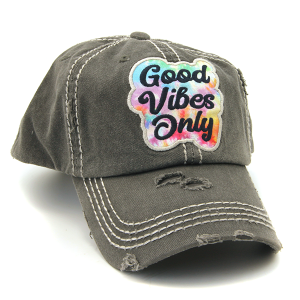 Cap 276a 30 KBEthos distressed hat good vibes only gray