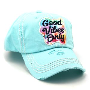 Cap 271b 30 KBEthos distressed hat good vibes only turquoise