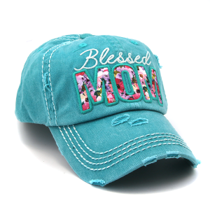 Cap 292a 30 KBEthos distressed hat floral blessed mom turquoise