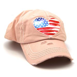 Cap 239 30 KBEthos distressed hat heart usa american flag pink