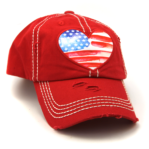Cap 246a 30 KBEthos distressed hat heart usa american flag red
