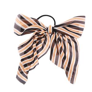 Hair Accessory 085 Ribbon Pony Tail Bow stripes black orange