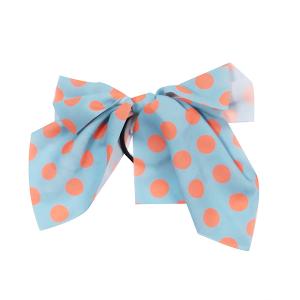 Hair Accessory 083 Ribbon Pony Tail Bow polka dots teal orange