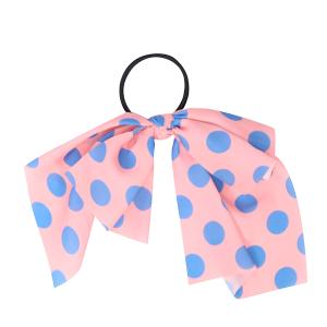 Hair Accessory 020 Ribbon Pony Tail Bow polka dots pink blue