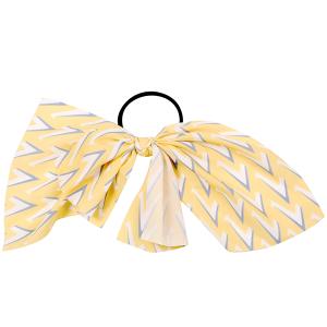 Hair Accessory 086 Ribbon Pony Tail Bow chevron yellow