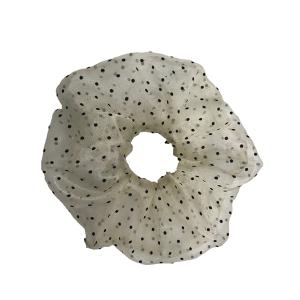 Hair Tie 736 30 large stretch scrunchie hair tie dots beige