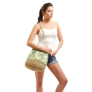 LOF LOA119 Tote Green Leaf Straw