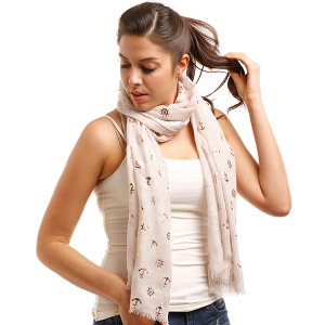 Scarf 041 LOF729 Cover up scarf anchor nautical beige