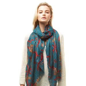 Scarf 024a 04 LOF ligh belt pattern scarf green