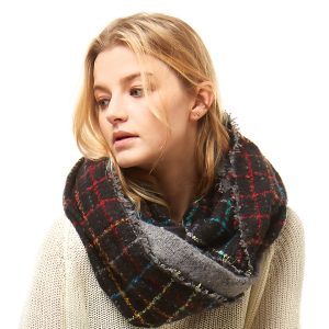 Scarf 713 04 LOF plaid infinity scarf multicolor black