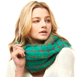 Scarf 716 04 LOF plaid infinity scarf multicolor green