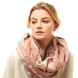 Scarf 715 04 LOF plaid infinity scarf multicolor pink