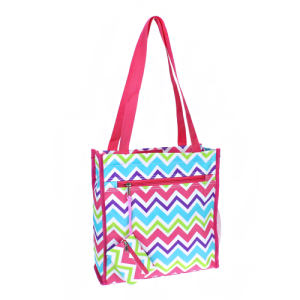 luggage 0313 book bag chevron WCV chevron multi fuchsia trim