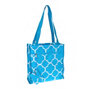 luggage 0313 book bag quatrefoil turquoise