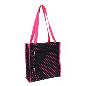 luggage 0313 book bag sm dots black fuchsia