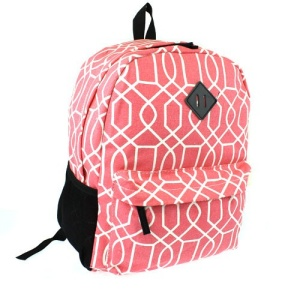 luggage 3016 canvas backpack geometric coral
