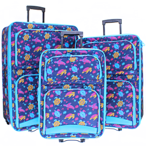 luggage 3pc swimming sea turtle turquoise