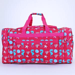 luggage D22 duffle bag sea horse fuchsia turquoise