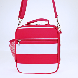 luggage ak NCC17 23 long lunch box nautical stripe fuchsia white