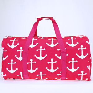 luggage ak NDN A P round duffle bag simple anchor fuchsia white