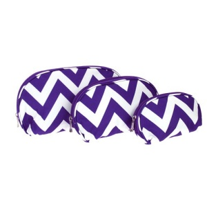 luggage c3 601 3pc oval cosmetic case chevron purple