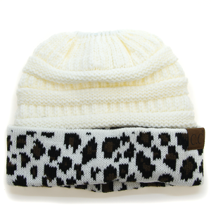 Winter CC Beanie 032d Messy Bun Beanie Pony Tail leopard white