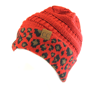 Winter CC Beanie 315 Pony Tail Beanie leopard red