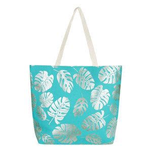 TPO MB0085 canvas tote leaves turquoise