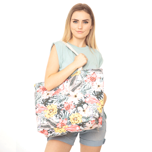 TPO MB0120 canvas tote tropical flamingo leaves