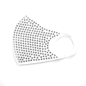 Face Mask 438 rhinestone mask white silver