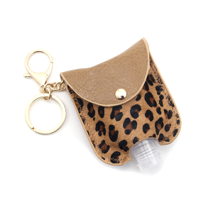 Hand Sanitizer Keychain 009 Leopard Ivory Brown