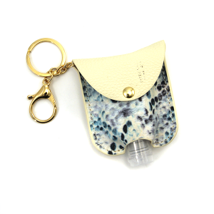 Hand Sanitizer Keychain 060 snake blue leather