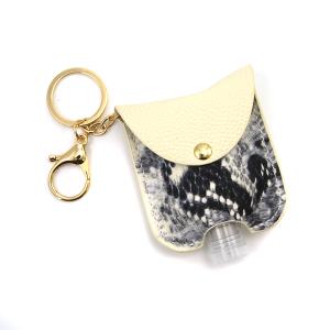 Hand Sanitizer Keychain 058 snake ivory leather