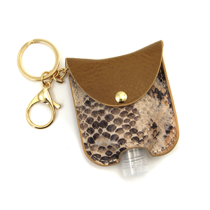 Hand Sanitizer Keychain 059 snake brown leather
