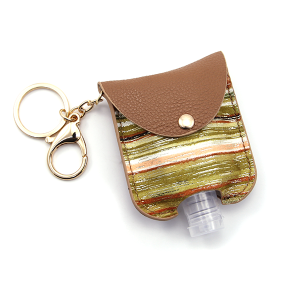 Hand Sanitizer Keychain 018 Stripes Green Brown