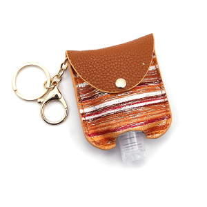 Hand Sanitizer Keychain 023 Stripes Orange Brown