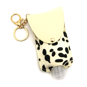 Hand Sanitizer Keychain 037a cow white large
