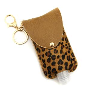 Hand Sanitizer Keychain 078 leopard brown large