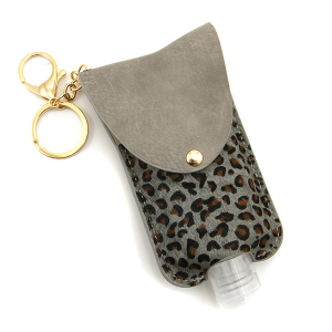 Hand Sanitizer Keychain 074 leopard gray large