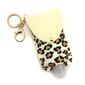 Hand Sanitizer Keychain 040a leopard white large
