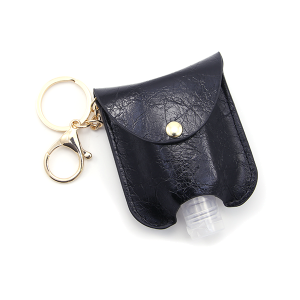 Hand Sanitizer Keychain 012 Leather Black