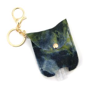 Hand Sanitizer Keychain 065 tie dye blue green denim